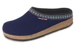 Haflinger Classic Grizzly Boiled Wool Clog GZ Line in Navy